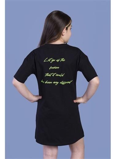 Toontoy Kids Toontoy Kız Çocuk Düşük Kol Detaylı Baskılı Elbise Siyah
